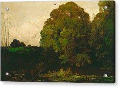 A Pond In The Morvan Acrylic Print by Charles Francois Daubigny