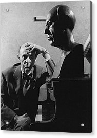 A Portrait Of Arnold Schoenberg Leaning Acrylic Print by Crane Ralph