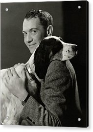 A Portrait Of John Held Jr. Hugging A Dog Acrylic Print