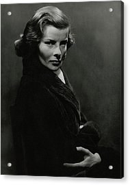 A Portrait Of Katharine Hepburn With Her Arms Acrylic Print by Lusha Nelson