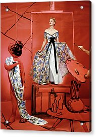A Portrait Of Lisa Fonnsagrives On A Red Set Acrylic Print by Horst P. Horst
