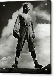 A Portrait Of Lou Little With A Football Acrylic Print