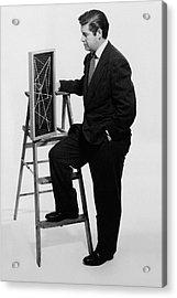A Portrait Of Paul Mccobb Leaning On A Ladder Acrylic Print