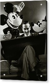 A Portrait Of Walt Disney With Mickey And Minnie Acrylic Print