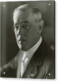 A Portrait Of Woodrow Wilson Acrylic Print by Arnold Genthe