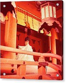 A Priest Praying In A Shinto Shrine Acrylic Print