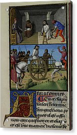 A Prisoner Being Questioned By A Priest Acrylic Print by British Library