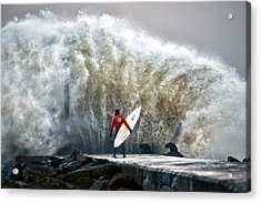 A Pro-surfer Waits For A Break In The Acrylic Print by Charles Mcquillan