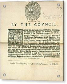 A Proclamation Acrylic Print by British Library