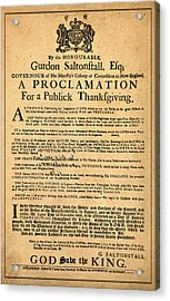 A Proclamation Of Thanksgiving Acrylic Print by Bill Cannon