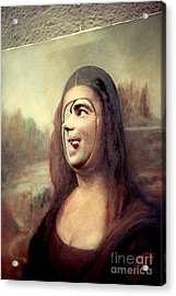 A Profile Of Mona Lisa Acrylic Print by Michael Hoard