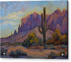 A Proud Saguaro At Superstition Mountain Acrylic Print