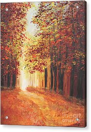 Acrylic Print featuring the painting A Quite Walk by Christie Minalga