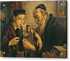 A Rabbi Tying The Phylacteries Acrylic Print by Jewish School