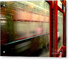 New Orleans Rainy Day Ride On The St. Charles Avenue Street Car In Louisiana Acrylic Print by Michael Hoard