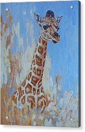 Acrylic Print featuring the painting A Rare Giraffe by Margaret Saheed
