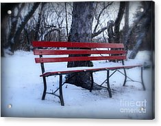 A Red Bench Waiting For Spring Acrylic Print