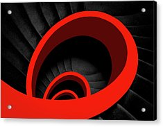 A Red Spiral Acrylic Print by Inge Schuster