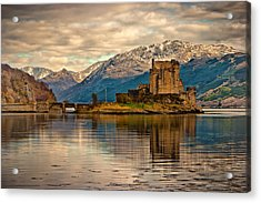 A Reflection At Eilean Donan Castle Acrylic Print by Chris Boulton