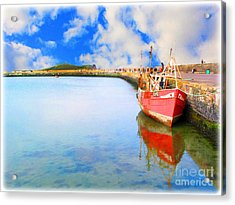 A Resting Boat Howth Ireland Acrylic Print by Jo Collins