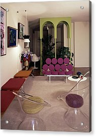 A Retro Living Room Acrylic Print by Tom Leonard