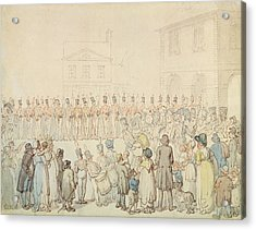 A Review Of The Northamptonshire Militia At Brackley, Northants Pen & Ink With Wc On Paper Acrylic Print by Thomas Rowlandson