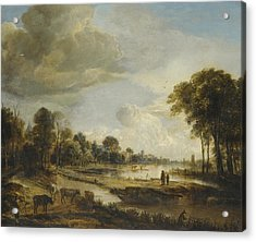 Acrylic Print featuring the painting A River Landscape With Figures And Cattle by Gianfranco Weiss