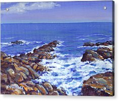 A Rocky Coast Acrylic Print by Richard De Wolfe
