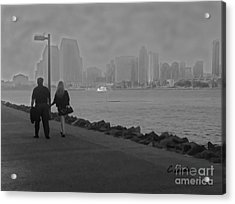 A Romantic Walk 2 Acrylic Print by Claudia Ellis