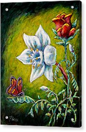 A Rose A Lily And A Butterfly Acrylic Print