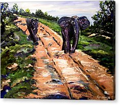 Acrylic Print featuring the painting A Rough Safari by Ray Khalife