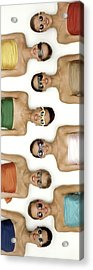 A Row Of Models In Strapless Tops And Sunglasses Acrylic Print by Richard Rutledge