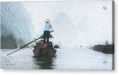 A Rower Woman Acrylic Print