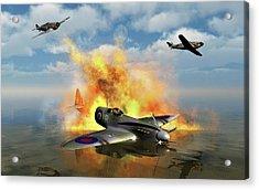 A Royal Air Force Spitfire Shot Acrylic Print by Mark Stevenson