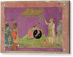 A Ruler With Courtiers Acrylic Print by British Library