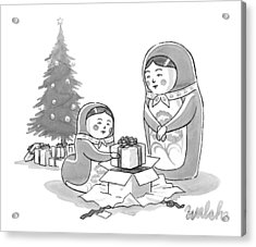 A Russian Doll Mother And Daughter Open Christmas Acrylic Print