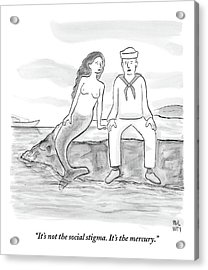 A Sailor Breaks Up With His Naked Mermaid Acrylic Print by Paul Noth