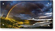 A Scottish Highland Rainbow Kylesku Acrylic Print by John Farnan