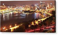 A Sea Of City Lights Acrylic Print by Adam Jewell
