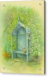 A Seat In The Garden Acrylic Print by Garry Walton