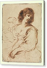 A Seated Young Woman Looking Acrylic Print by Guercino