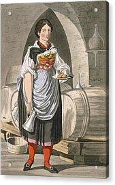 A Serving Girl At An Inn Acrylic Print by Josef Anton Kapeller
