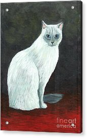 A Siamese Cat On Red Mat Acrylic Print