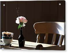 A Single Rose Sits In A Small Vase Acrylic Print