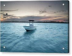 A Skiff Anchored Off The Coast Of Cat Acrylic Print