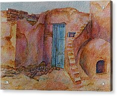 Acrylic Print featuring the painting A Small Corner Of Taos Pueblo by Ann Peck