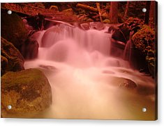 A Small Waterfall Along The Old North Cascade Highway  Acrylic Print by Jeff Swan