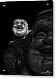 A Smile On The Shoulder - Bw Acrylic Print by Christopher Holmes
