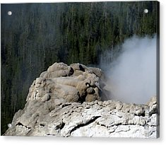 A Smoking Man. Yellowstone Hot Springs Acrylic Print