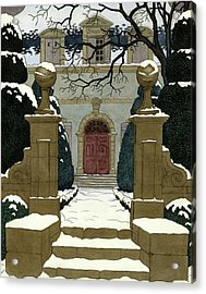 A Snow Covered Pathway Leading To A Mansion Acrylic Print